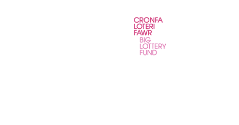 The Big Lottery Fund logo, in Welsh and English, coloured white