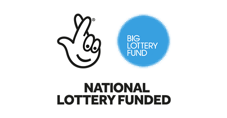 The Big Lottery Fund logo, in English, coloured blue