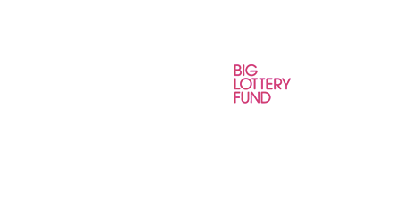 The Big Lottery Fund logo, in English, coloured white