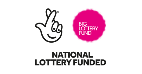 The Big Lottery Fund logo, in English, coloured pink