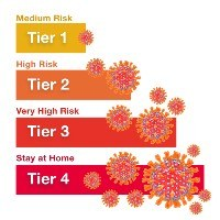 Chart of coronavirus tiers 1 to 4, with images of the virus
