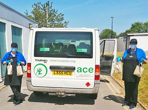 ACE making food deliveries by van