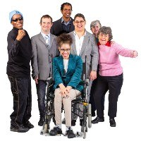 A group of people smiling. They are of different ages and have different disabilities.