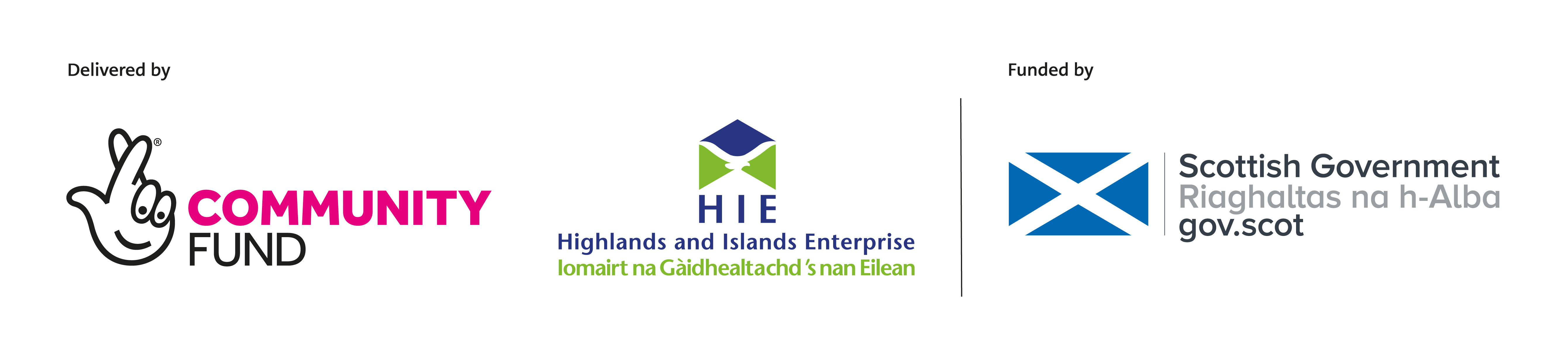 Delivered by The National Lottery Community Fund, Highlands and Islands Enterprise and funded by Scottish Government