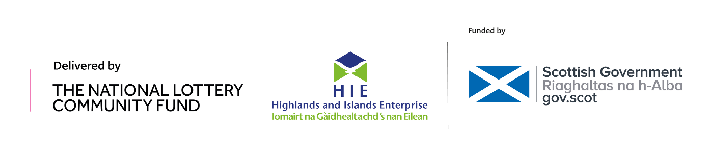 Logos of The National Lottery Community Fund, Highlands and Islands Enterprise and The Scottish Government
