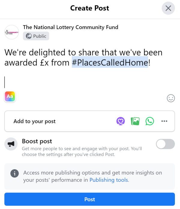 create Facebook post example