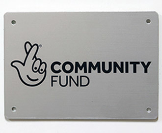 Small aluminium equipment plaque